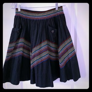 Anthropologie Black Fiesta Skirt